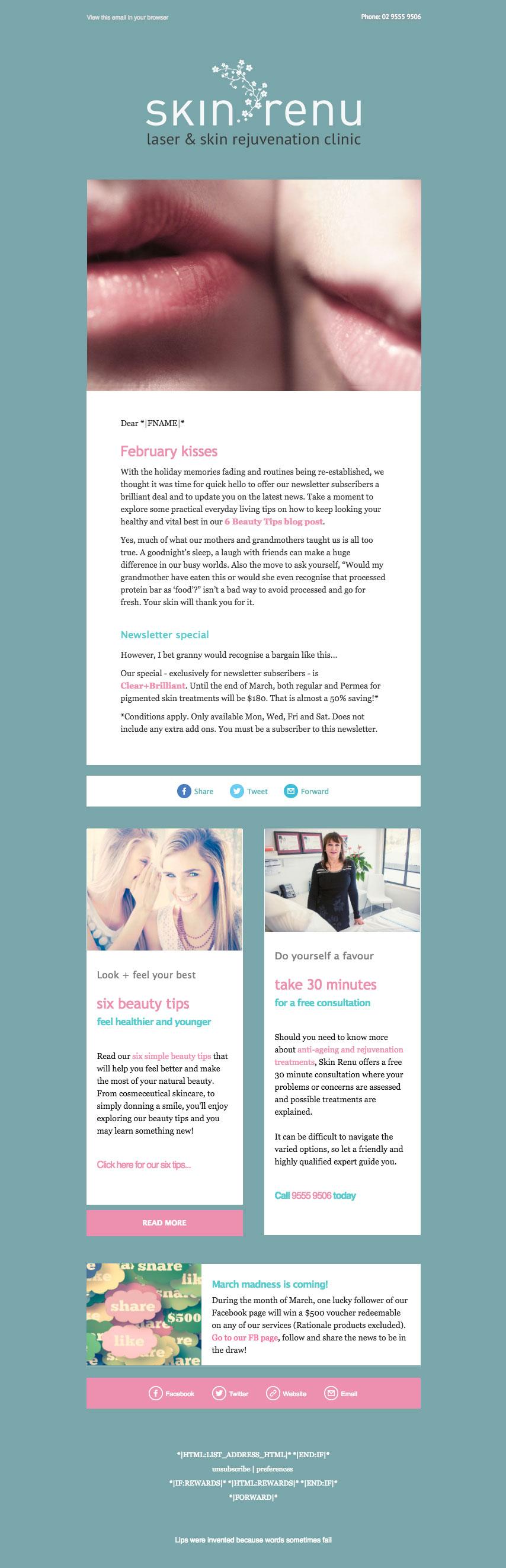 Skin Renu newsletter