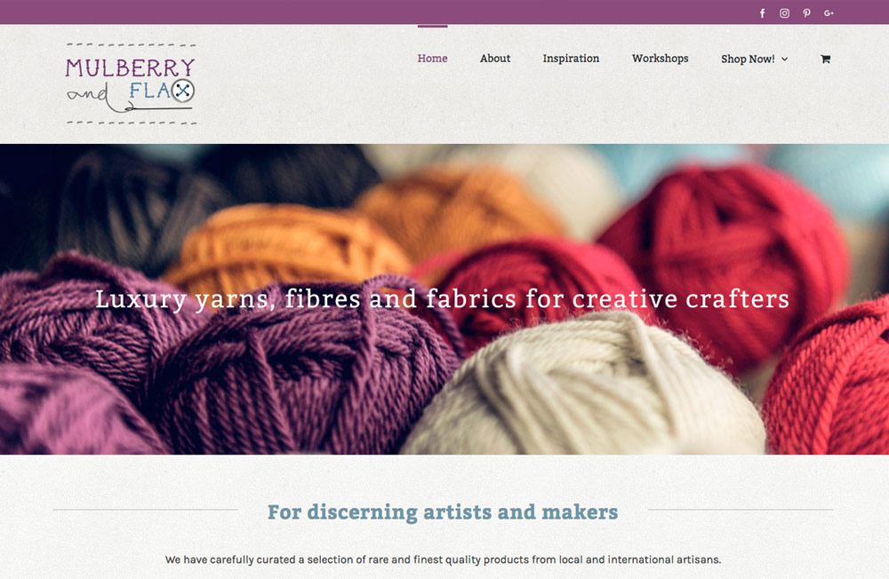 Mulberry and Flax website by Jules Ober